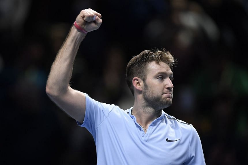 Jack Sock of the US reacts after winning against Marin Cilic.