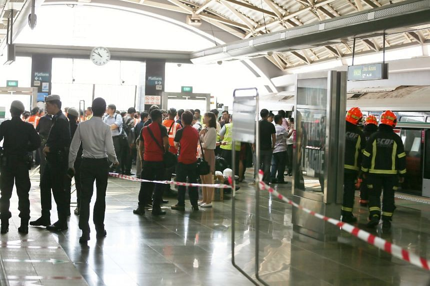Stranded commuters at Joo Koon station after the collision.