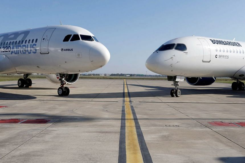 An Airbus A320neo aircraft and a Bombardier CSeries aircraft in Colomiers near Toulouse, France, on Oct 17, 2017.