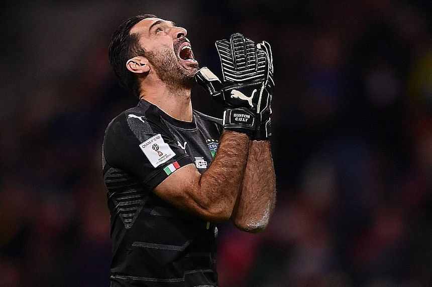 Italy goalkeeper Gianluigi Buffon in anguish during the second leg of the World Cup play-off against Sweden. Buffon, 39, called time on his international career.