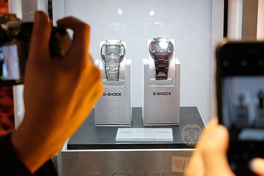 Casio's upcoming sapphire crystal G-Shock models on display at the brand's 35th anniversary celebration in New York City. The watch's case is said to be protected by sapphire crystal and will be almost unscratchable.