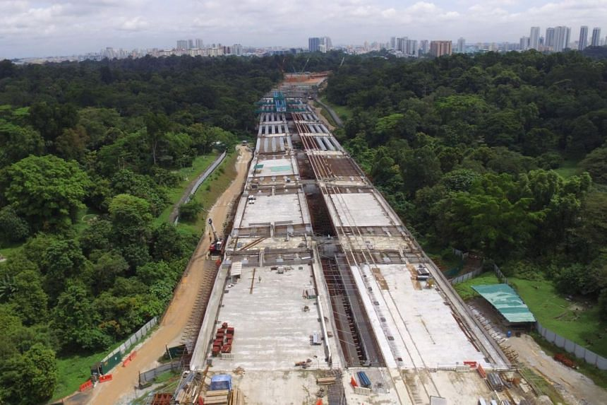 Vehicular bridge at Lornie Highway. The controversial Bukit Brown road will not be completed by next month (December) as projected - the second delay since the project was announced in 2011.