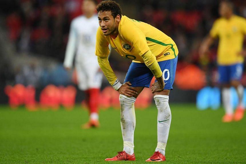 Brazil's Neymar during an international friendly soccer match at Wembley Stadium in London, Britain on Nov 14, 2017.