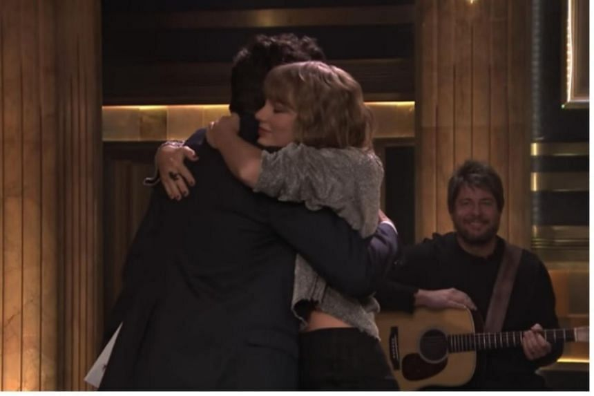 The 27-year-old Grammy winner and Fallon shared an emotional hug at the end of her performance.