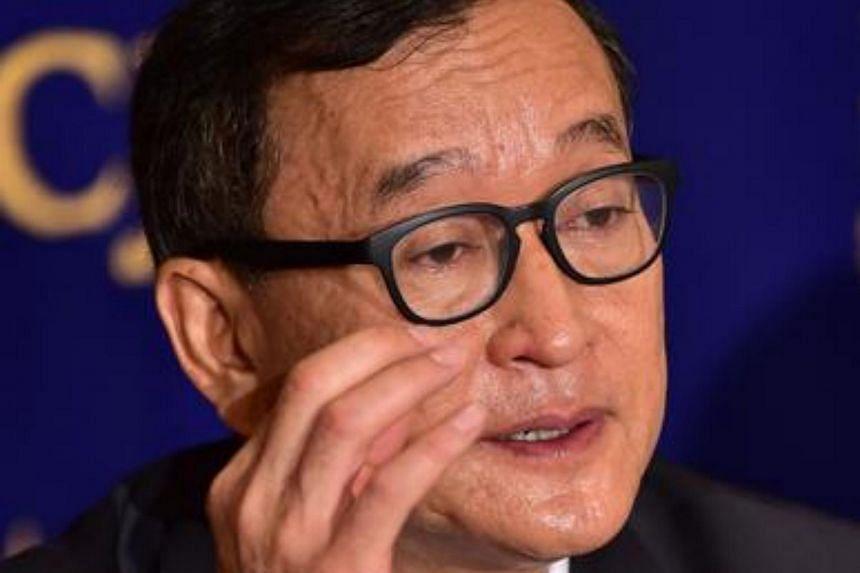 Cambodia's main opposition Cambodia National Rescue Party president Sam Rainsy in Tokyo on Nov 10, 2015.