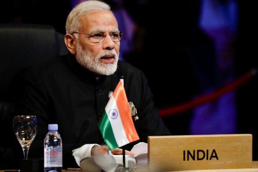 India's Prime Minister Narendra Modi participates in the opening session of the 15th Asean-India Summit at the Philippine International Convention Center in Manila, Philippines, on Nov 14, 2017.