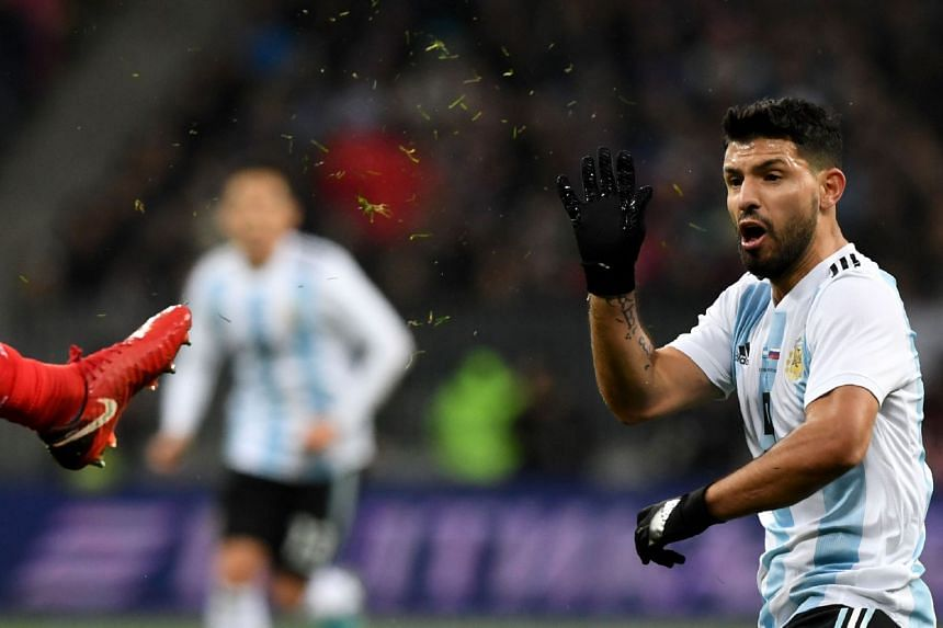 Aguero in action for Argentina against Russia during a friendly on Nov 11, 2017.
