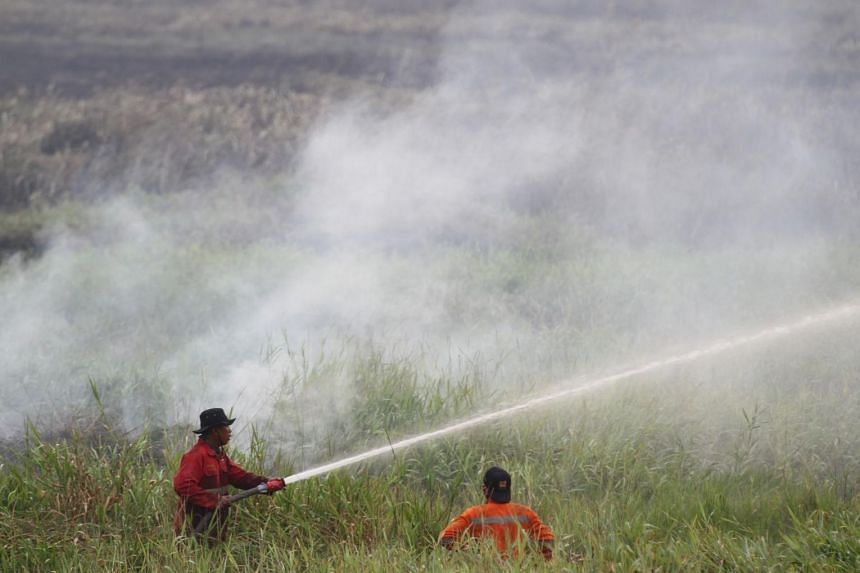 Indonesia firefighters putting out fires in Ogan Ilir, South Sumatra.