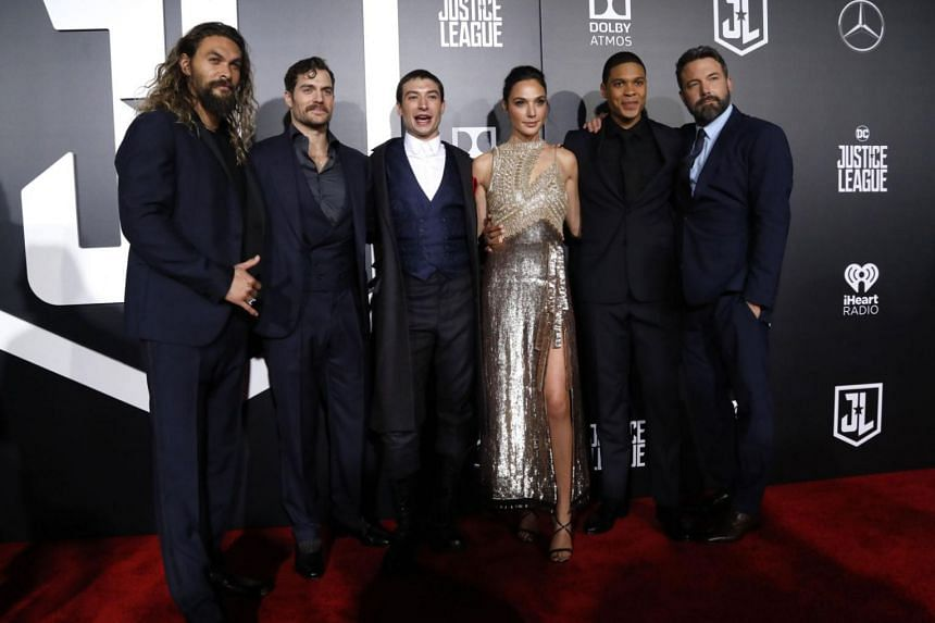 The cast of Warner Bros. Pictures' Justice League at the world premiere on Nov 13, 2017. (From left) Jason Momoa, Henry Cavill, Ezra Miller, Gal Gadot, Ray Fisher and Ben Affleck.