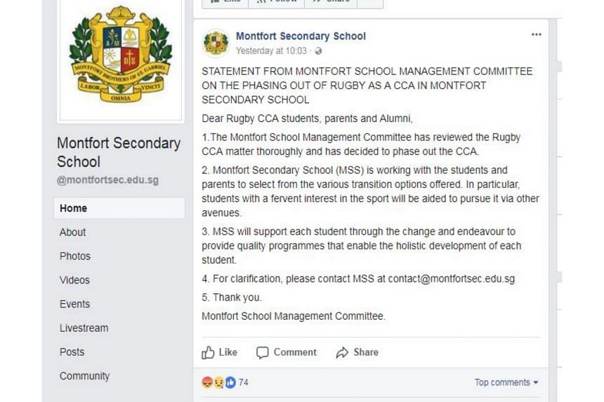 """A statement on the school's Facebook page said that it has """"reviewed the rugby CCA matter thoroughly and decided to phase out the CCA""""."""