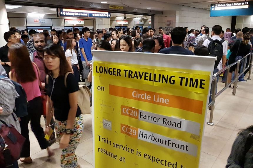The morning crowd at Bishan MRT station after a signal fault delayed trains on the Circle Line.