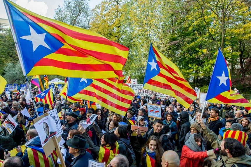 Catalonia pro-independence demonstration in Brussels.