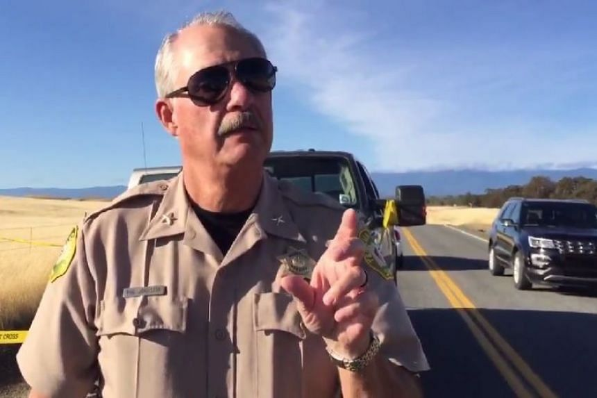 A police officer gives an update on the school shooting in Tehama County, Northern California