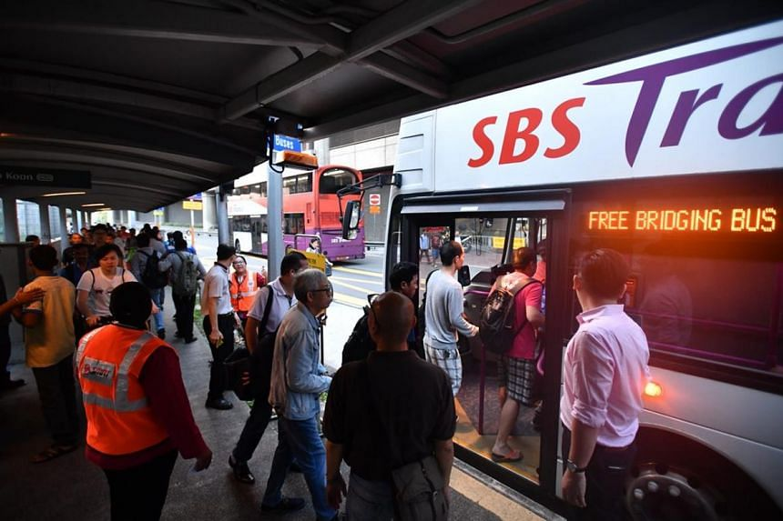 Commuters were provided with bus bridging services at Joo Koon MRT Station on Thursday morning.