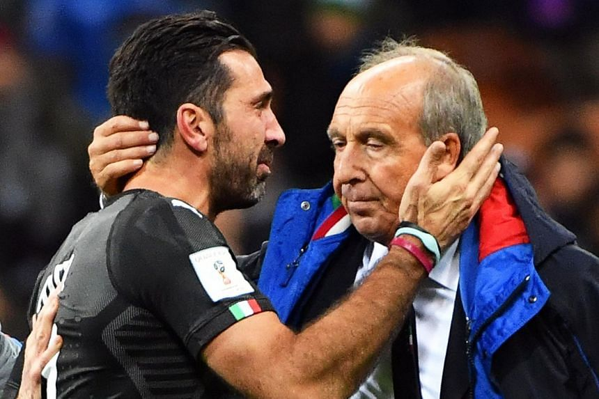 Ventura and goalkeeper Gianluigi Buffon show their dejection after Italy's World Cup 2018 qualifier against Sweden.