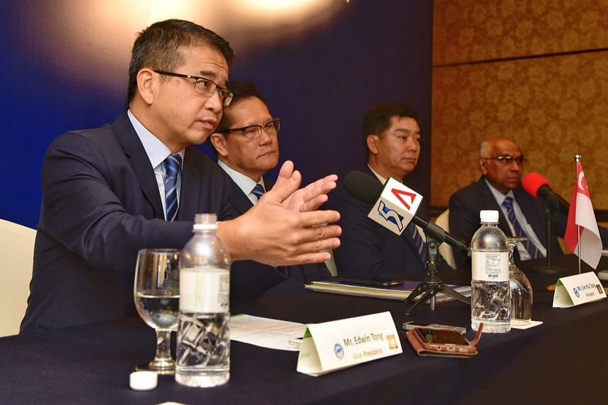 (From left) The Football Association of Singapore's vice-president Edwin Tong, president Lim Kia Tong, deputy president Bernard Tan and vice-president S. Thavaneson at the association's annual congress on Thursday (Nov 16).