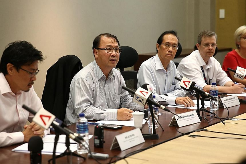 (From left) SMRT senior vice-president of rail operations for the North-South and East-West lines Alvin Kek; LTA deputy chief executive Chua Chong Kheng; LTA group director for rail/road systems engineering Leong Kwok Weng; and Thales representative