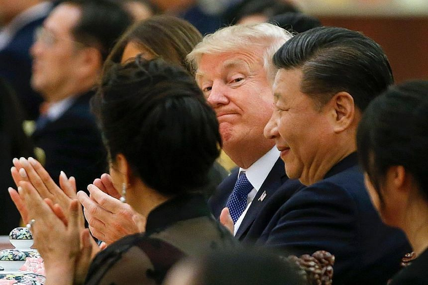US President Donald Trump and Chinese President Xi Jinping at a state dinner at the Great Hall of the People in Beijing last week. Mr Trump's visit had strengthened US alliances in North-east Asia, says one analyst.