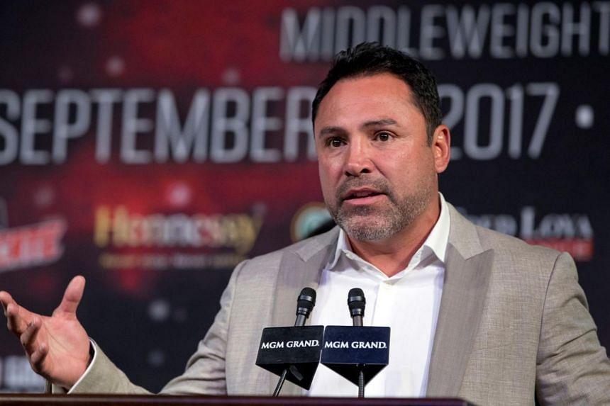 Oscar De La Hoya speaks during a news conference for Canelo Alvarez v Gennady Golovkin bout in Las Vegas on Sept 13, 2017.