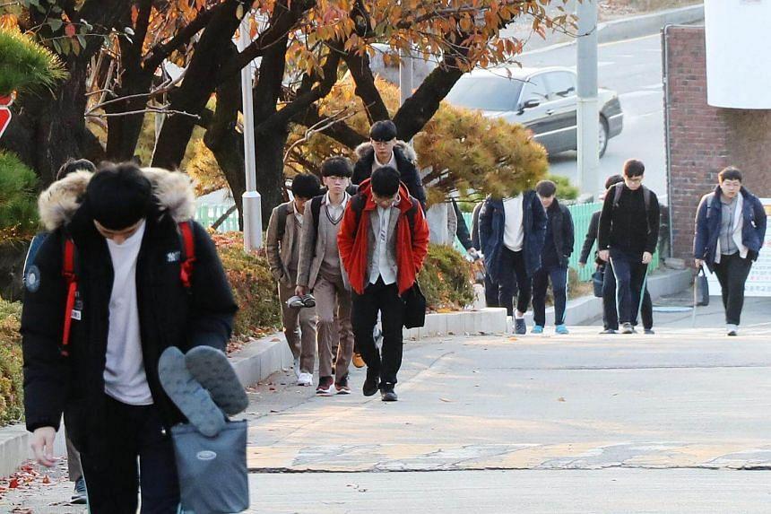 Senior students attend school at the Korea High School in the southwestern city of Gwangju, South Korea.