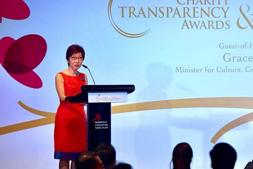 Minister for Culture, Community and Youth Grace Fu addressing the guests at the Charity and Transparency Awards at the Marriott Hotel on Nov 15, 2017.