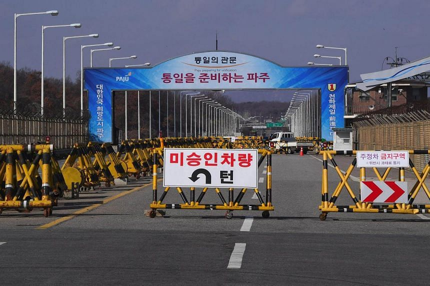 A barricade is set on the road leading to the truce village of Panmunjom.