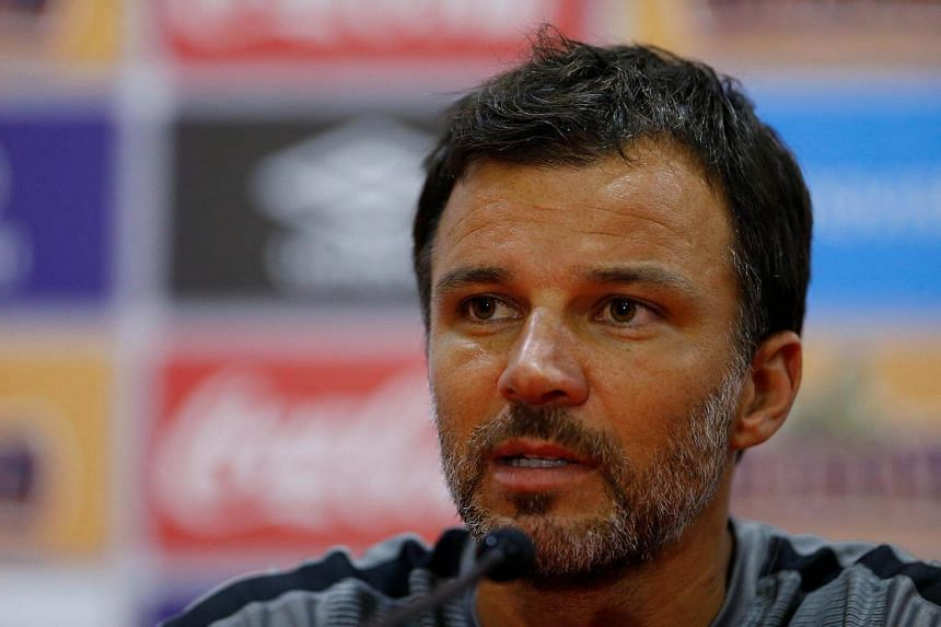 New Zealand coach Anthony Hudson speaks during a press conference in Lima on the eve of the 2018 World Cup qualifying play-off second leg match against Peru.