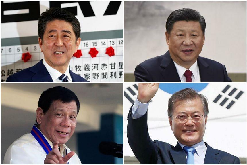 (Clockwise from top left) Japanese PM Shinzo Abe, Chinese President Xi Jinping, South Korean President Moon Jae In and Filipino President Rodrigo Duterte.