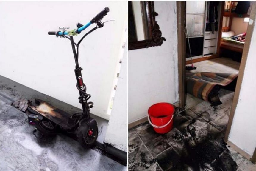 An e-scooter was left charging overnight in the bedroom of a Yishun flat when it caught fire.