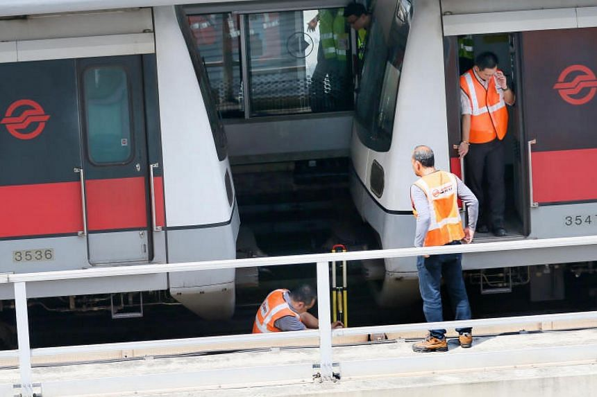 According to rail operator SMRT, the train involved had stopped behind a stationary train, but moved forward unexpectedly and came into contact with it.