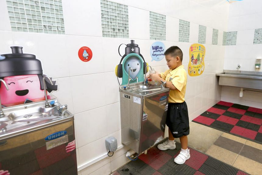 Riverside Primary School encourages its students to drink plain water and to refill their water bottles at the water coolers all around the school.