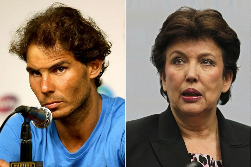 Bachelot (right) alleged Nadal (left) had faked an injury in order to hide a positive drug test.