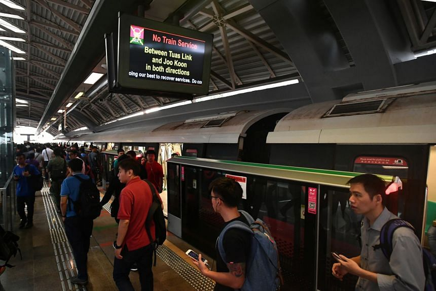 Train services between Joo Koon and Tuas Link stations were halted on Nov 16, 2017, for the authorities to investigate Nov 15's collision between two SMRT trains.