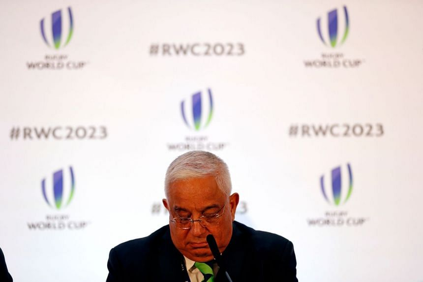 SA Rugby president Mark Alexander looks down after France is named as the host.