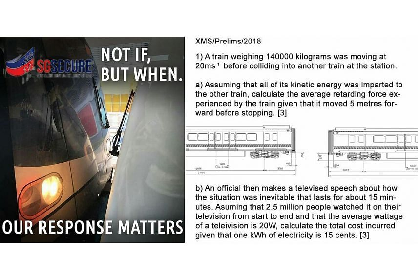 A mock poster and a tongue-in-cheek physics question that have appeared online, in the wake of the Joo Koon MRT incident.