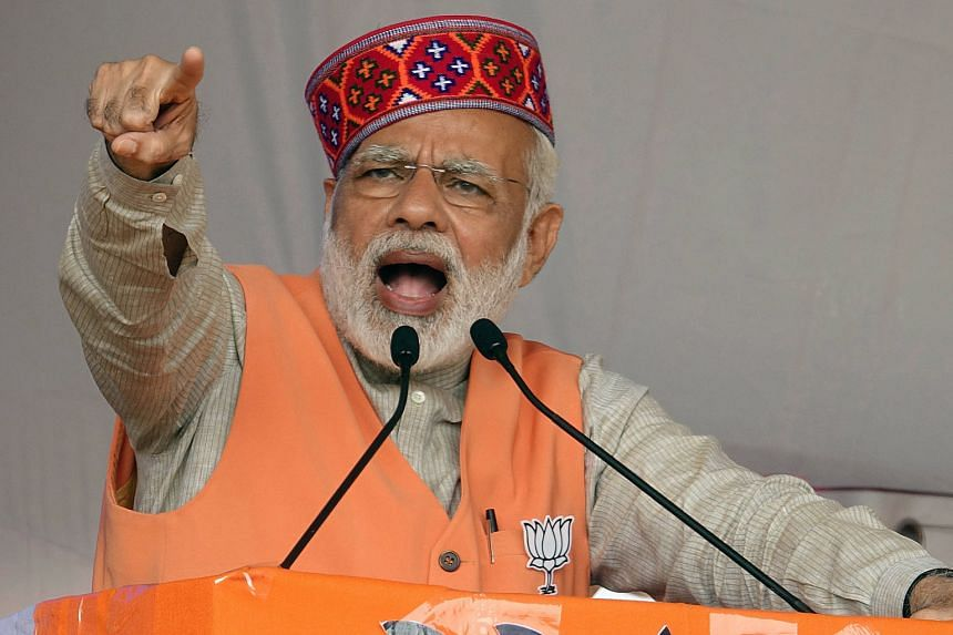 Mr Narendra Modi at an election rally this month. Nearly nine in 10 Indians have a favourable view of the Prime Minister, according to a survey.