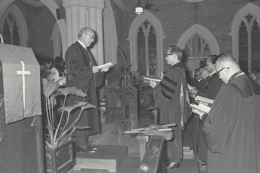 The installation ceremony of Reverend Yap Kim Hao at Wesley Methodist Church in 1972.