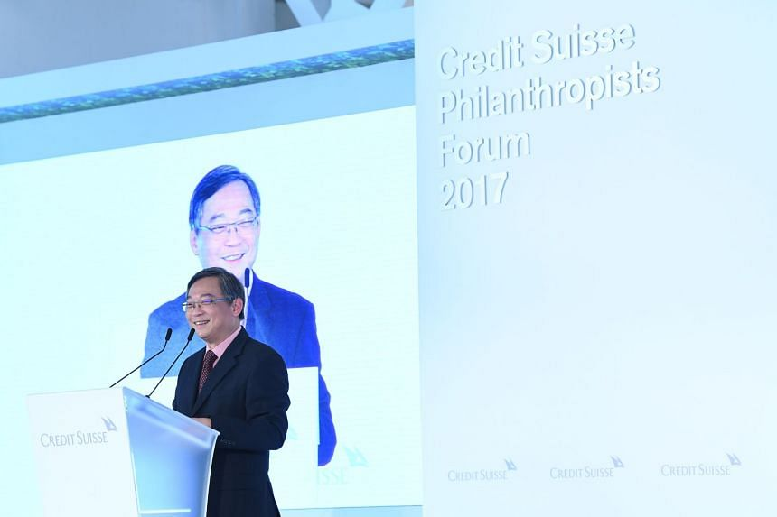 Mr Gan Kim Yong offered insights into the role philanthropy played in Singapore's history. PHOTO: CREDIT SUISSE