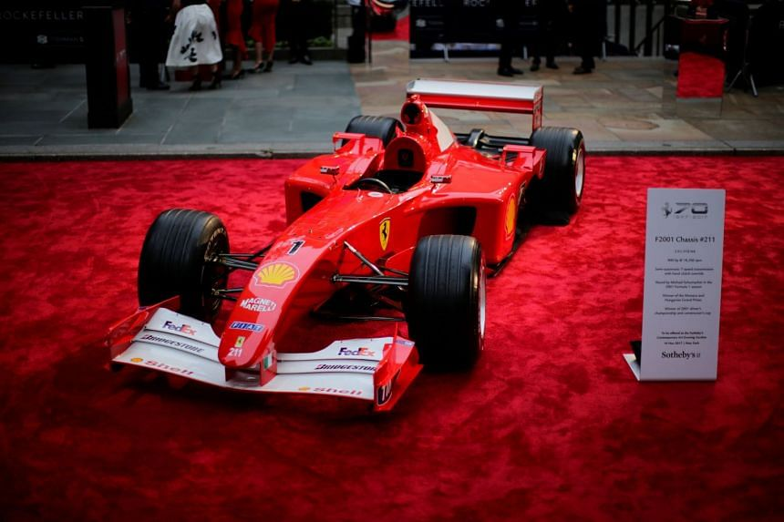 Michael Schumacher's Grand Prix-Winning Ferrari sold for US$7.5 million (S$10.2 million) in New York on Nov 16, 2017, setting an auction record for a modern-era Formula One car.