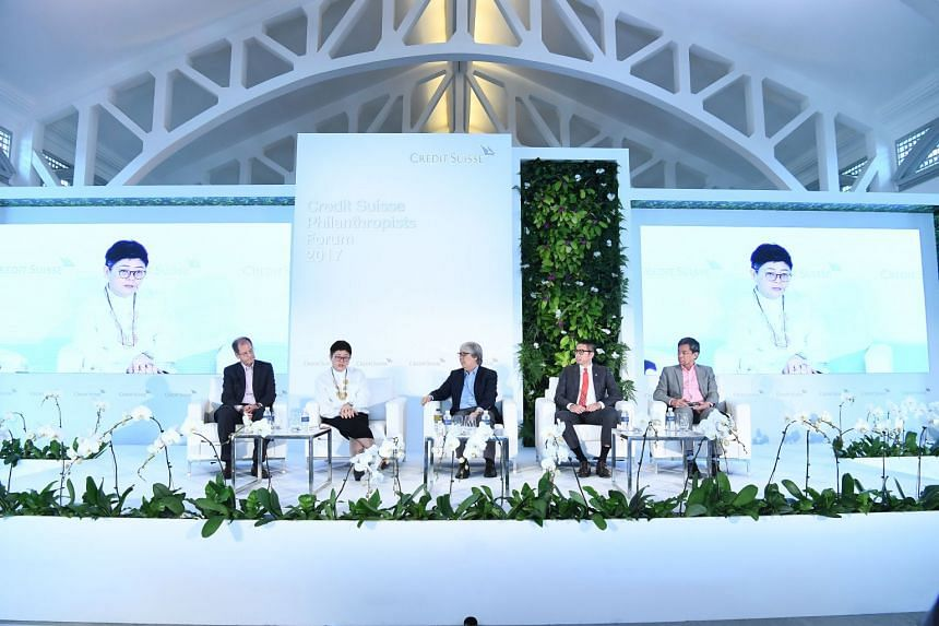 Panellists (from left): Mr David Zuellig, Ms Anita Fam, Prof Tommy Koh, Mr Philip Ma, Dr Gerardo Legaspi. PHOTO: CREDIT SUISSE