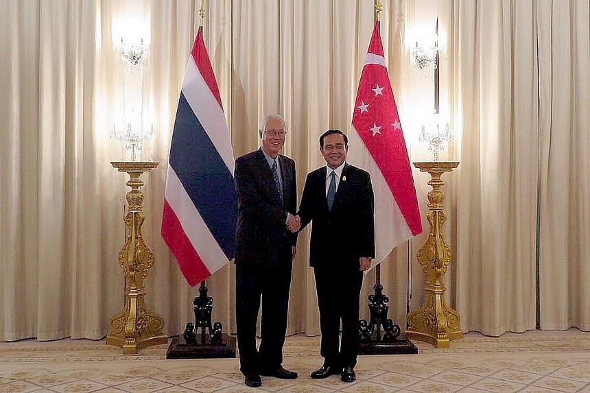 Emeritus Senior Minister Goh Chok Tong with Thai Prime Minister Prayut Chan-o-cha in Bangkok yesterday. ESM Goh said Asean has great potential for internal growth, with a population of more than 600 million and a combined GDP of $3.4 trillion.