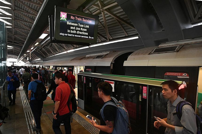 The rush-hour crowd at around 7.30am at Joo Koon MRT station, which was more packed than usual as train service between Joo Koon and Tuas Link stations was suspended yesterday.