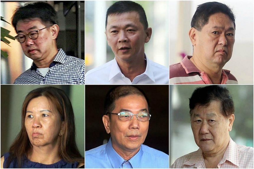 (Clockwise from top left) Seet Seo Boon, See Chye Huat, Or Poh Soon, Seah Ee Lam, Toh Hee Choye and Lim Poi Hwa are allegedly part of a group whose main activity is said to have been illegal 4D and Toto.