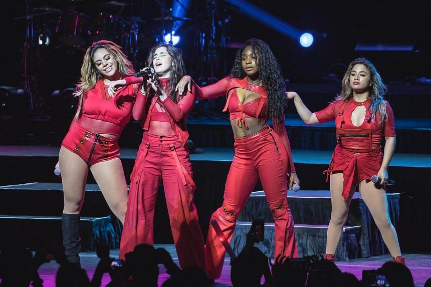 (From left) Dinah Jane, Lauren Jauregui, Normani Kordei and Ally Brooke of Fifth Harmony performing at the Star Theatre on April 8, 2017.