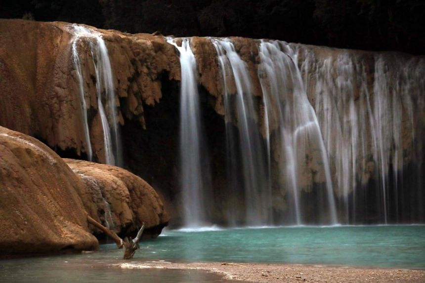 View of the Blue Water river main waterfall, in Tumbala municipality, Chiapas state, Mexico.