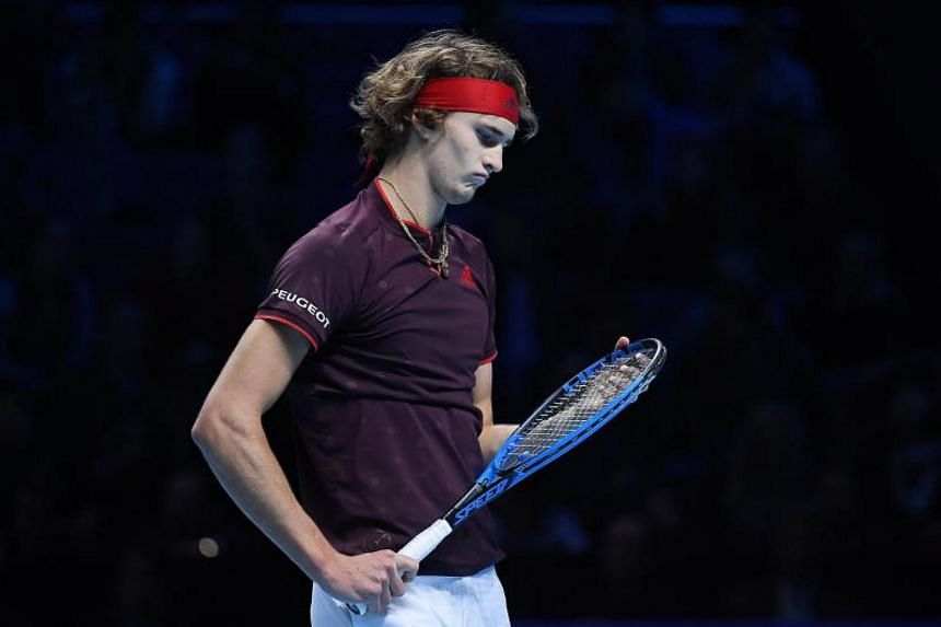 Germany's Alexander Zverev lost his final round-robin match 6-4 1-6 6-4 to American Jack Sock.