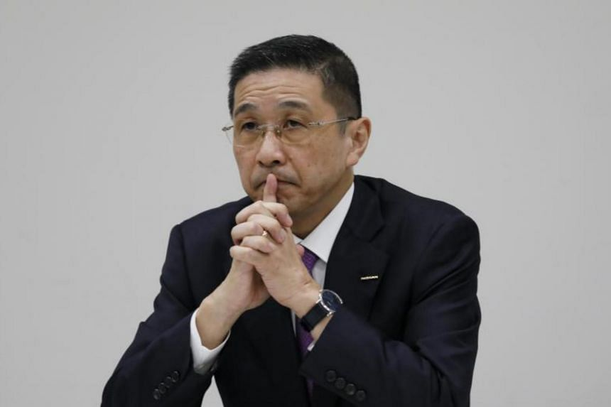 Nissan CEO Hiroto Saikawa during a news conference at the company's headquarters in Yokohama on Nov 17, 2017.