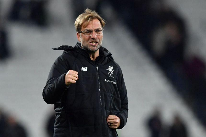 Liverpool's German manager Jurgen Klopp reacts after beating West Ham on Nov 4, 2017.