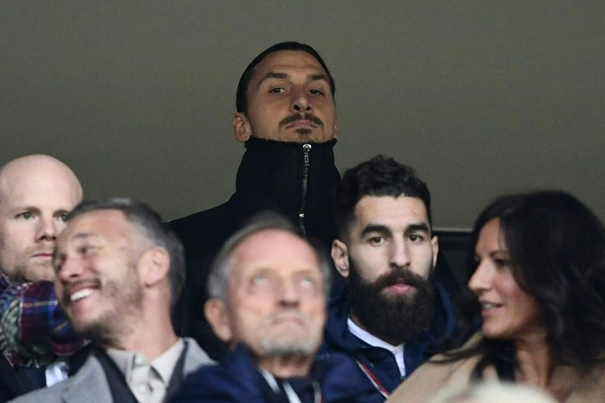Ibrahimovic watches the World Cup qualifier between Sweden and Italy, Nov 10, 2017.