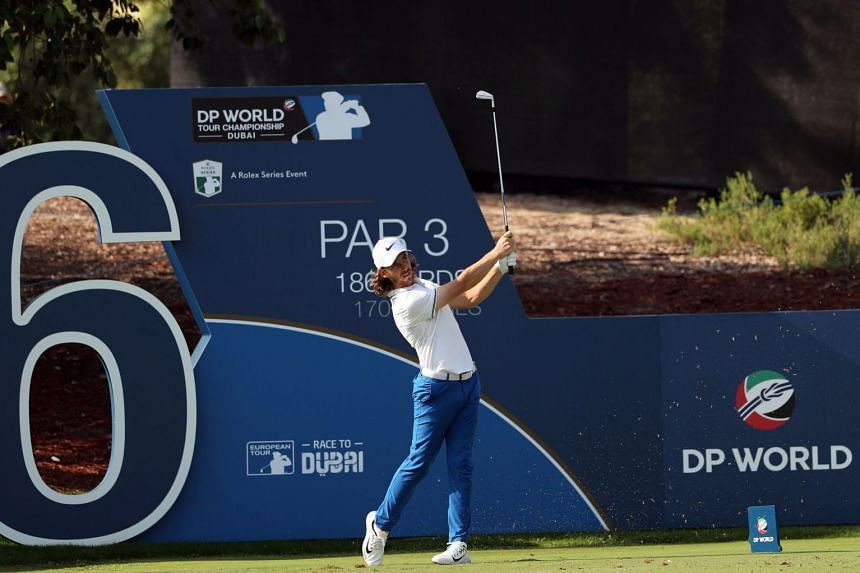 Fleetwood plays a shot during the second round of the DP World Tour Championship.